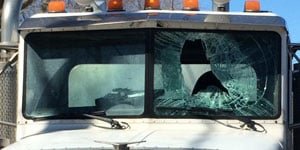 Tractor trailer's windshield damaged by flying ice in Andover on Friday. (CT State Police)