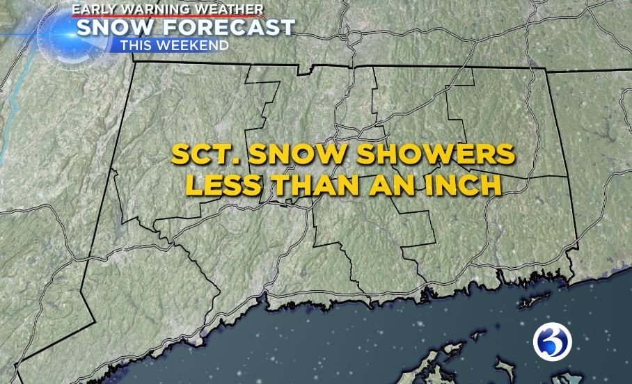 Overnight scattered snow showers will bring than less an inch to most of the state. (WFSB)