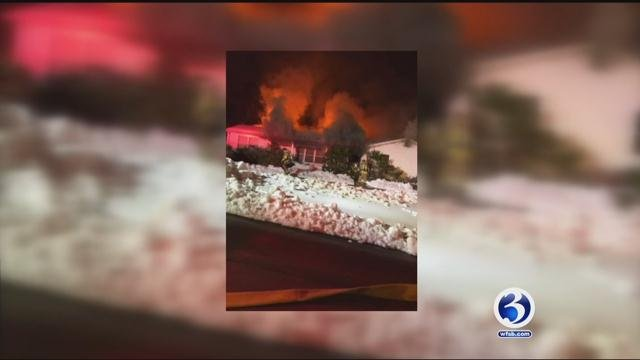 The North Haven Fire Department is on scene of a house fire on Cooper Rd on Saturday evening. (WFSB)