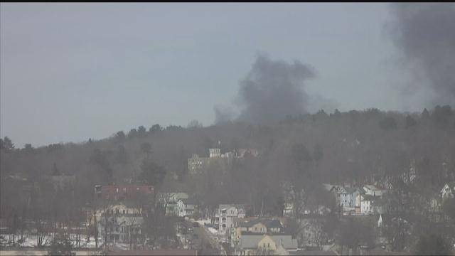 Smoke could be seen for miles after a fire in Waterbury on Monday afternoon.  (WFSB)
