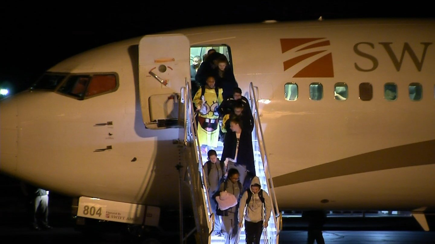 The Quinnipiac University women's basketball team returned to Connecticut on Tuesday morning. (WFSB photo)