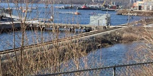 A body was found in water near the sub base in Groton on Tuesday afternoon. (WFSB)
