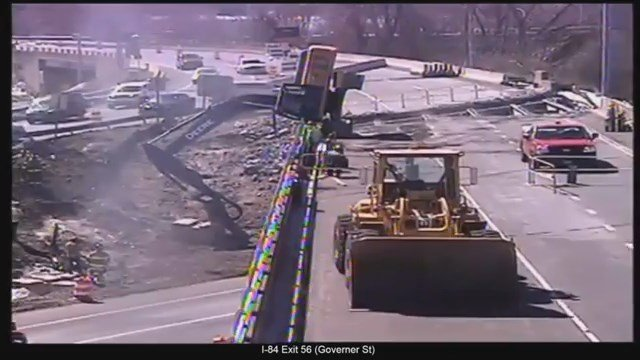 A man died after the excavator he was in tipped over on the highway on Wednesday. (DOT)
