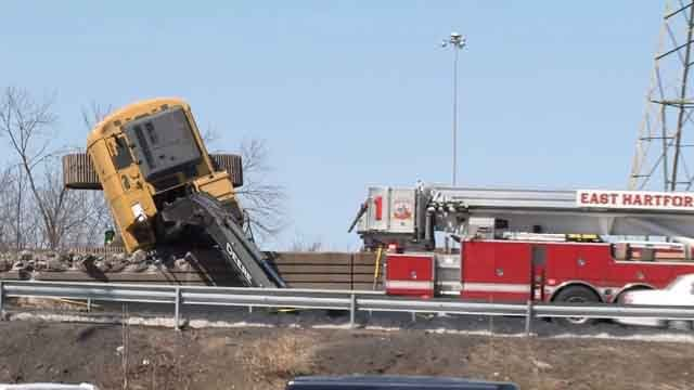 A man was killed after the excavator he was in tipped over on Wednesday. (WFSB photo)