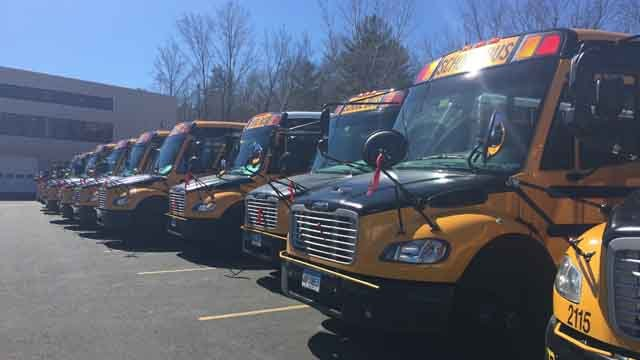 Avon school bus drivers tied red ribbons on their buses in honor of their fellow driver (WFSB)