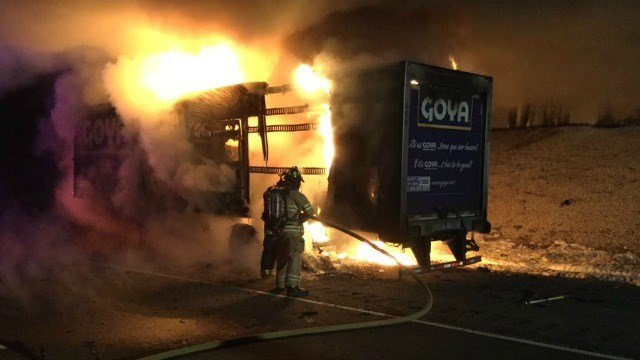A Goya truck caught fire on I-84 west in Tolland on Friday. (Tolland Alert photo)