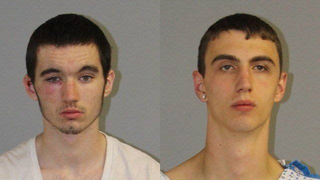 Chad Barrett and Nathan Cordell were charged with stealing a car and leading troopers on a three town pursuit. (State police photos)