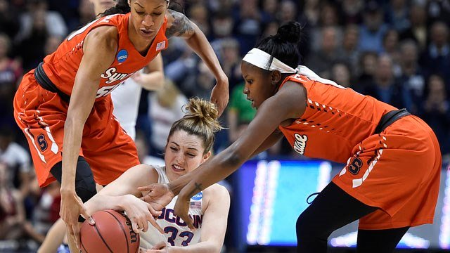 Connecticut's Katie Lou Samuelson battles for the ball against Syracuse. (AP photo)