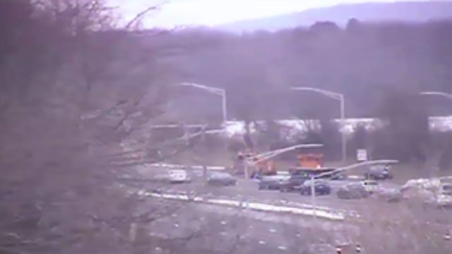 A tractor trailer caught on fire on Route 20 in Windsor Locks on Friday afternoon. (DOT)