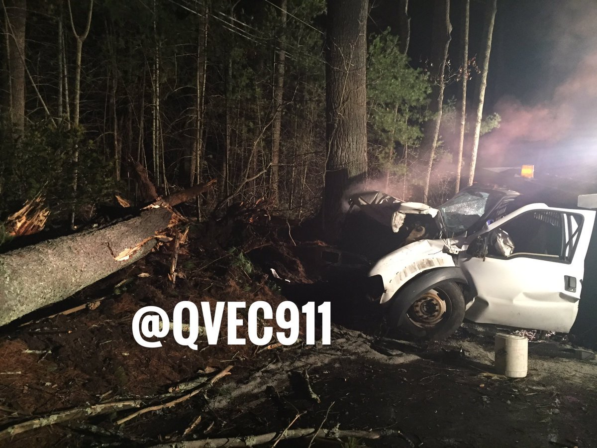 Vehicle involved in a serious crash on Route 49 in Voluntown Saturday morning.  (QVEC Dispatch via Twitter)