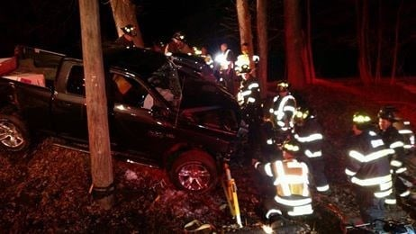 Scene of an overnight crash on Burlington Avenue in Bristol (Bristol Fire Department Facebook page)