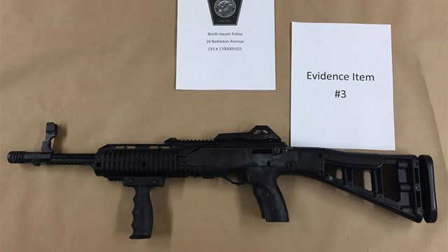 One of the rifles seized by the North Haven Police Department.