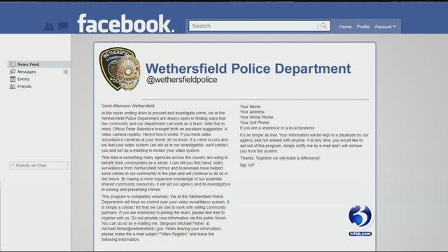 Police in Wethersfield are creating a video surveillance registry (WFSB)