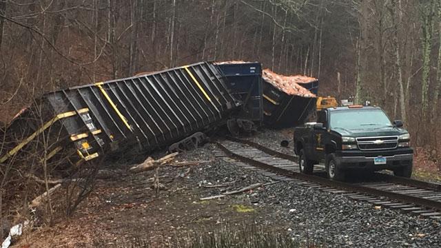 A train derailment in New Milford has closed a nearby road. (WFSB)