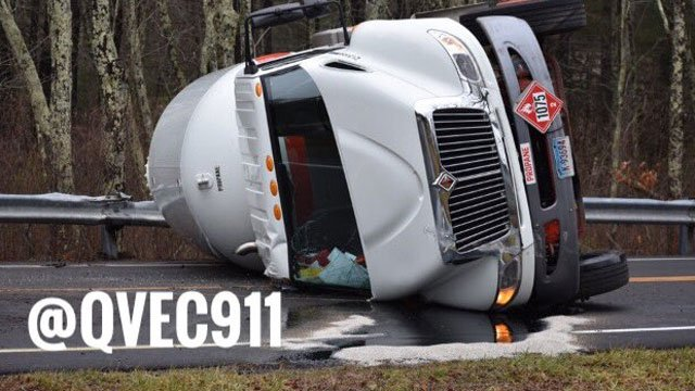 A propane tanker rolled over in Voluntown and the crash caused authorities to close Route 49. (Voluntown Fire Department)