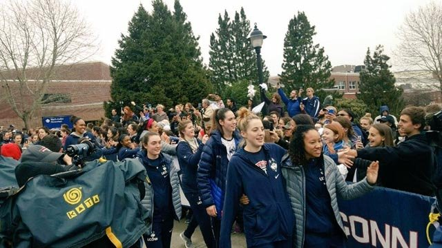 A rally was held earlier this week for the UConn women's basketball team as they headed off to Dallas for the Final Four. (@UConnHuskies photo)