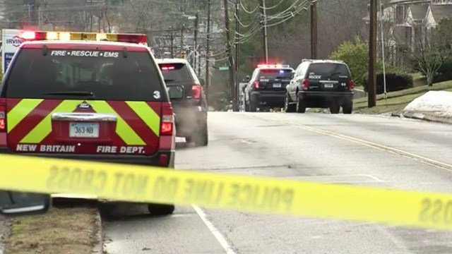 Three people were shot at a home on Newington Avenue in New Britain on Wednesday morning. (WFSB photo)