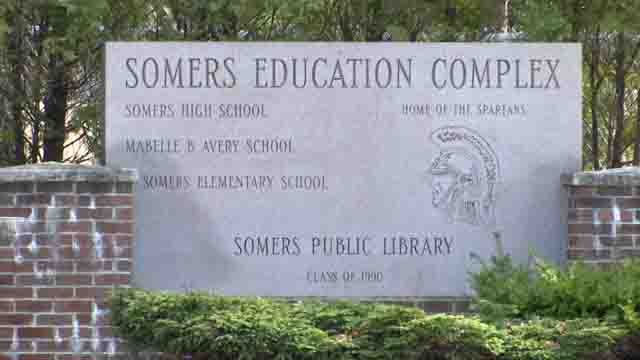 A racial message was found inside Somers High School recently (WFSB)