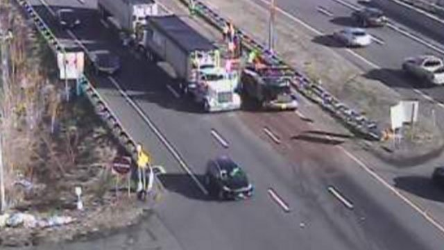 Two tractor trailers involved in a crash on Route 9 in Middletown on Thursday. (CT DOT)