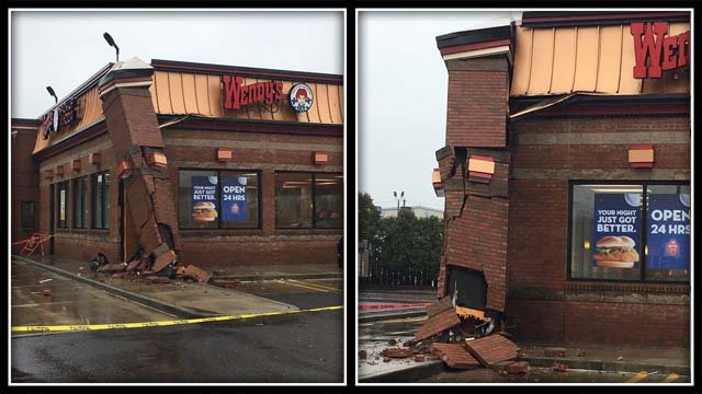 A car hit a Wendy's restaurant in Milford on Friday (Milford police)