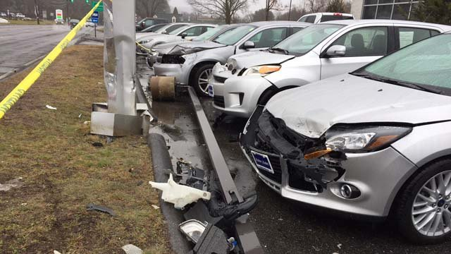 Several cars were damaged at a dealership in Thomaston (WFSB)