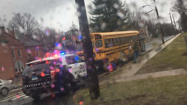 A school bus was involved in a crash in Enfield on Friday (WFSB)