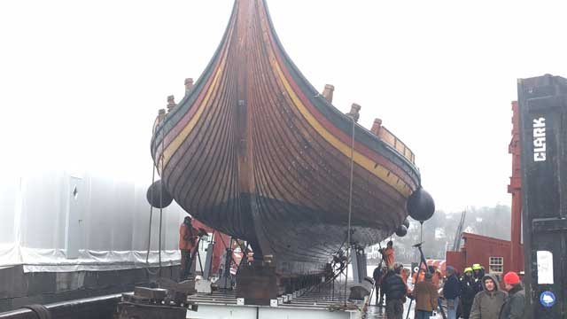 A replica of a large viking warship is undergoing maintenance at Mystic Seaport. (WFSB)