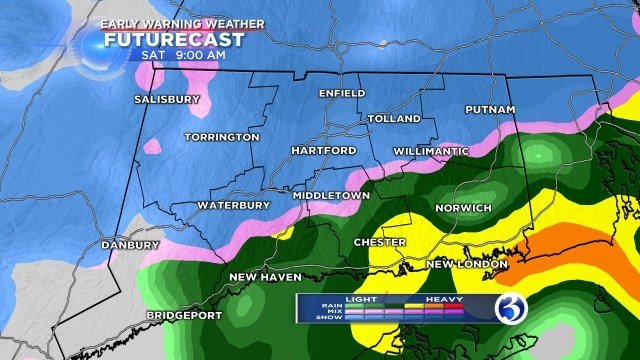 Rain, sleet and freezing rain is expected across the state. (WFSB)