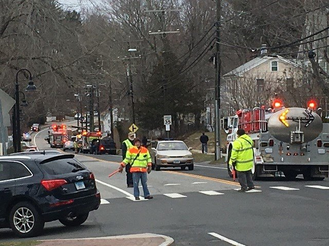 Crews on scene in Deep River where a car has driven into a body of water. (WFSB)