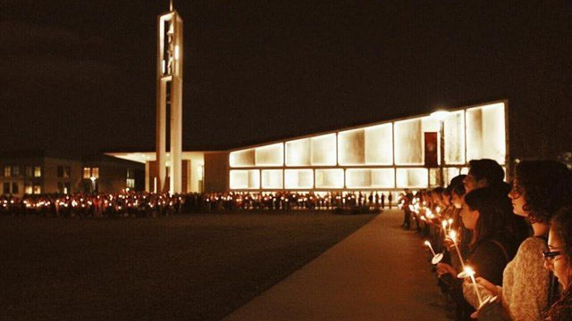 A vigil took place at Sacred Heart University in Fairfield on Sunday, three days after Caitlin Nelson died. (Sacred Heart University Facebook page)