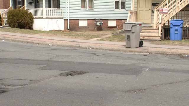 Crews in Bristol are out repairing potholes throughout the city (WFSB)