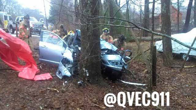 A person was seriously injured after a car hit a tree on Tuesday (Quinebaug Valley Emergency Communications Twitter)