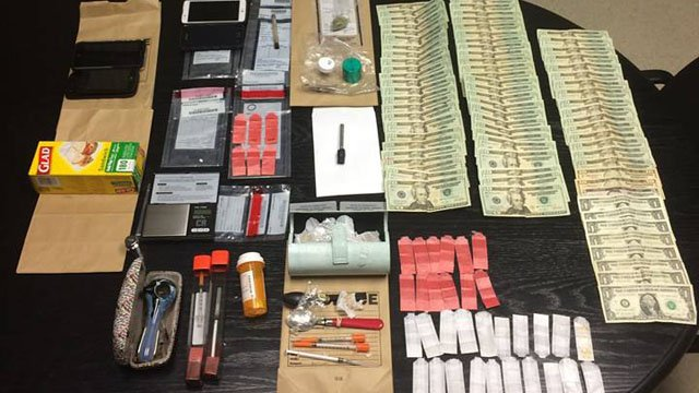 Torrington police said they seized heroin, crack cocaine and other drug-related items during a bust at a local motel. (Torrington police photo)