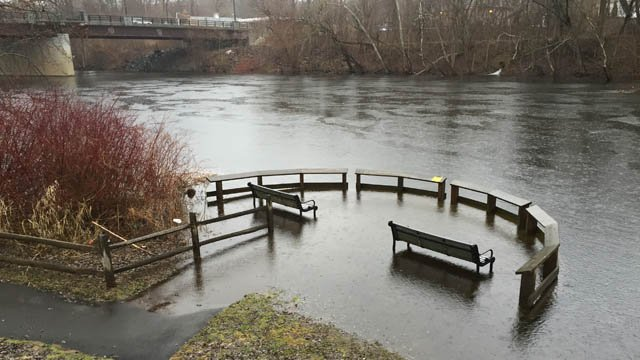 Minor flooding was reported on the Farmington River in Farmington on Thursday. (WFSB photo)