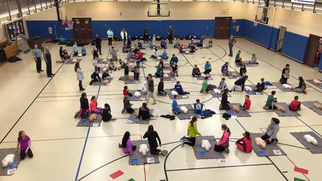 High school students in Old Saybrook learned a new hands-free CPR technique on Thursday. (WFSB photo)