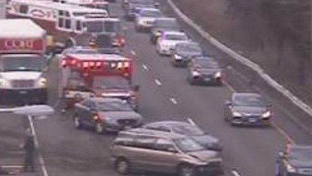A crash blocked lanes on I-91 north in Cromwell on Friday morning. (DOT photo)