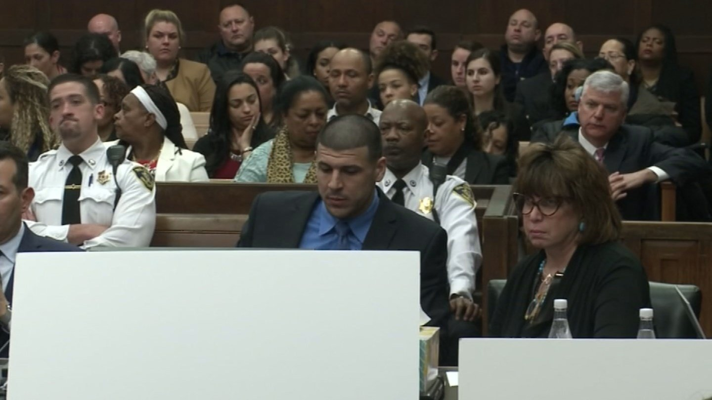 Aaron Hernandez listens to closing arguments during his trial on Thursday. (CNN photo)
