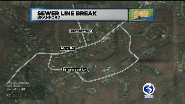 Both lanes closed after sewer line break in Branford on Friday evening. (WFSB)