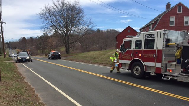 A multi-vehicle crash closed Route 30 in Vernon on Monday. (WFSB photo)