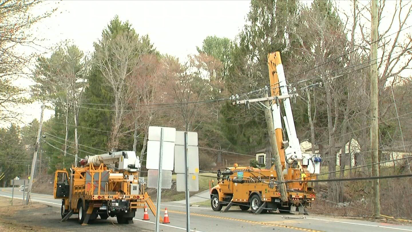 A car struck a utility pole on Route 32 in Stafford overnight. (WFSB photo)
