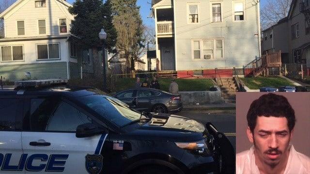 Jean Carlos Perez is accused of stabbing a man on Lewis Avenue in Meriden. (WFSB/Meriden police photos)