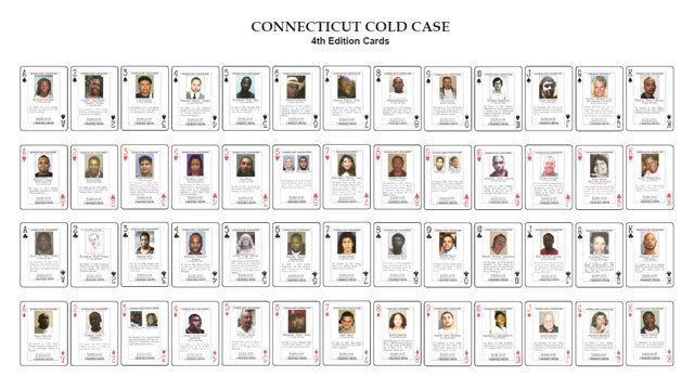 "The fourth edition of ""Cold Case"" playing cards are available to inmates. (CT Division of Criminal Justice)"