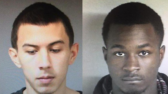 Kyle Carrero and Keontae Samuel were pulled over for speeding and arrested on drug charges in Putnam. (State police)