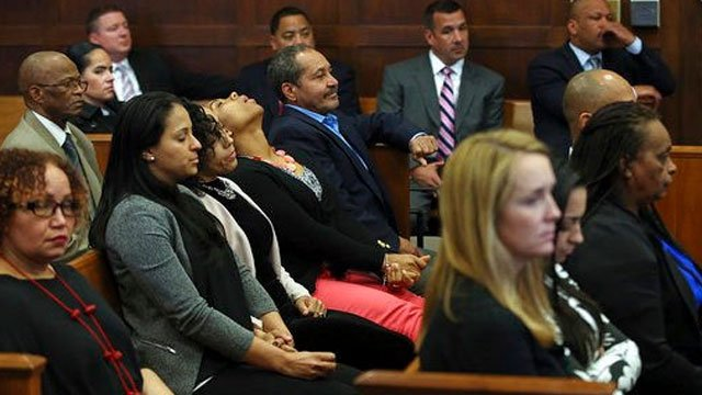 Family and friends of the victims react when court is adjourned without a verdict on day five of jury deliberations in the double murder trial of former New England Patriots tight end Aaron Hernandez. (Nancy Lane/The Boston Herald via AP, Pool).