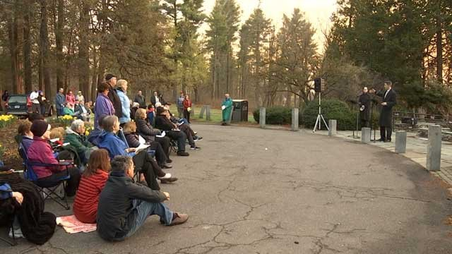 Dozens gathered for a sunrise service at Elizabeth Park on Easter Sunday (WFSB)