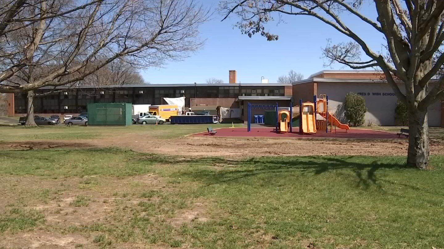 An asbestos discovery extended spring break at the Wish school in Hartford. (WFSB photo)