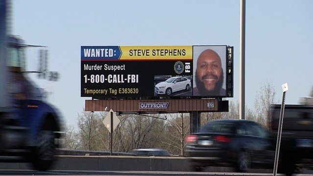 A billboard for suspected Cleveland killer Steve Stephens popped up in Hartford this week. (WFSB photo)