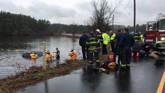 A woman was rescued after a minivan plunged into a body of water in Hamden on Thursday morning. (Hamden Fire Dept. photo)