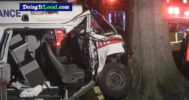 AMR ambulance involved in a crash in Bridgeport.  (Courtesy of Doing It Local)