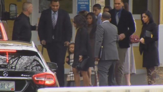 Hernandez's fiancee and his daughter arrive for funeral in Bristol (WFSB)